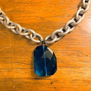 Jewelry - Silver Chainlink Necklace with Royal Blue Stone